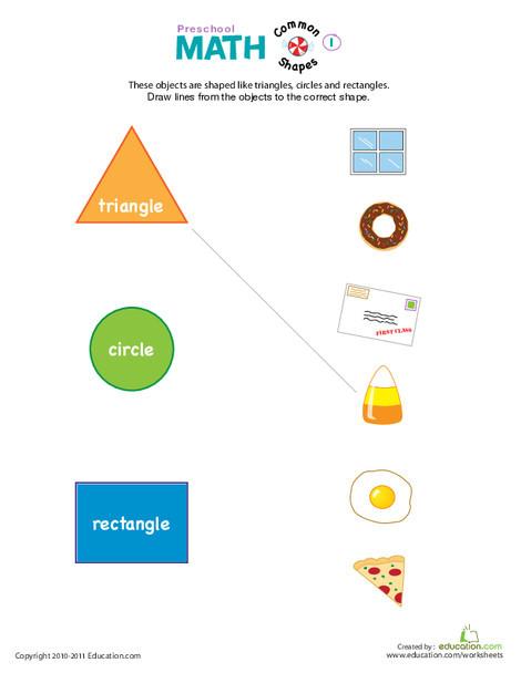 Preschool Math Worksheets: Preschool Math: Everyday Shapes