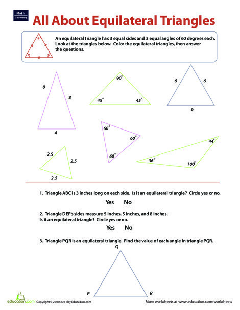 Third Grade Math Worksheets: Equilateral Triangles