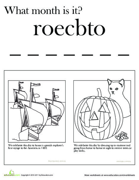 First Grade Reading & Writing Worksheets: Month of October