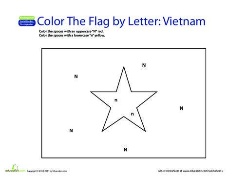 Kindergarten Reading & Writing Worksheets: Make a Color-by-Letter Flag: Vietnam