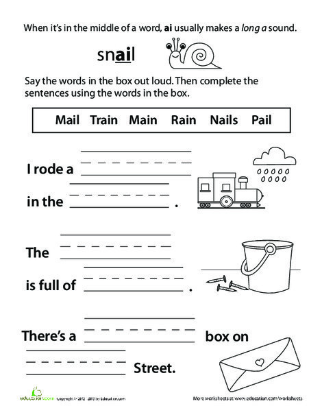 First Grade Reading & Writing Worksheets: Sounding It Out: Ai Vowel Pair