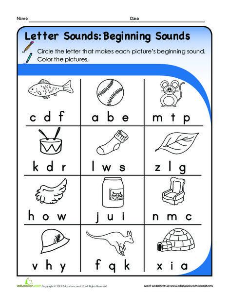 Kindergarten Reading & Writing Worksheets: Letter Sounds: Beginning Sounds
