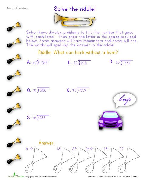 Fifth Grade Math Worksheets: Solve the Division Riddle #2