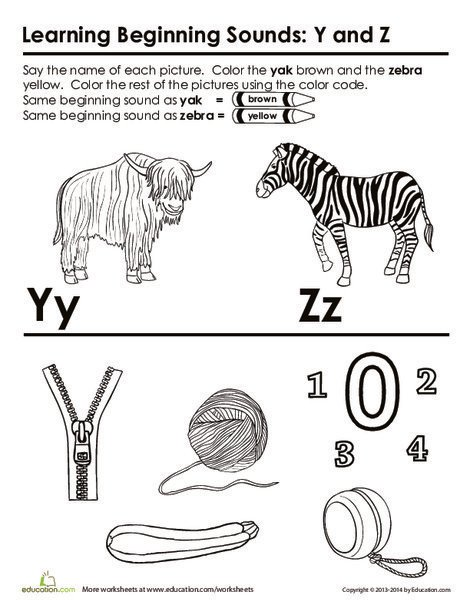 First Grade Reading & Writing Worksheets: Words that Start with Y and Z