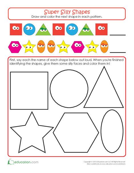 Kindergarten Math Worksheets: Super Shapes: Make a Pattern