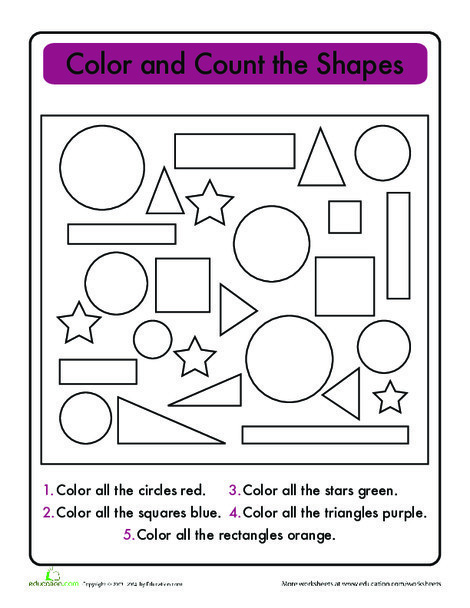 First Grade Math Worksheets: Super Shapes: Count and Graph