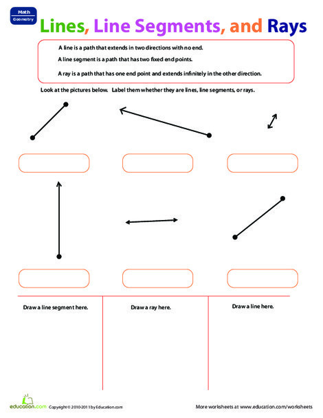 Third Grade Math Worksheets: Lines, Line Segments, and Rays
