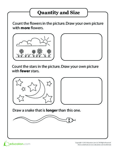 Kindergarten Math Worksheets: Comparing Quantity and Size