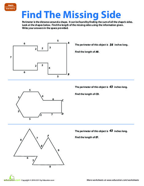 Third Grade Math Worksheets: Find the Missing Side