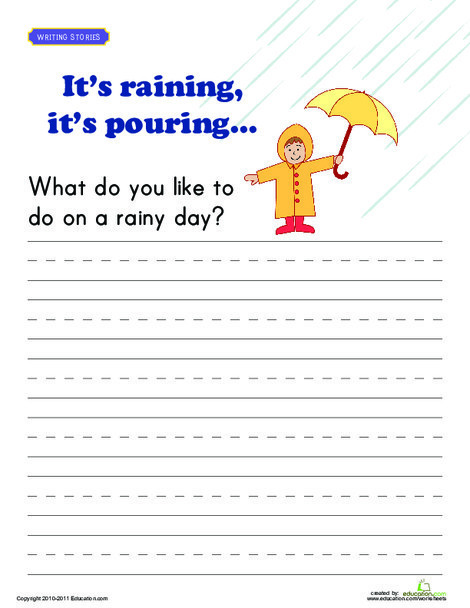 First Grade Reading & Writing Worksheets: Writing Prompt: Rainy Day