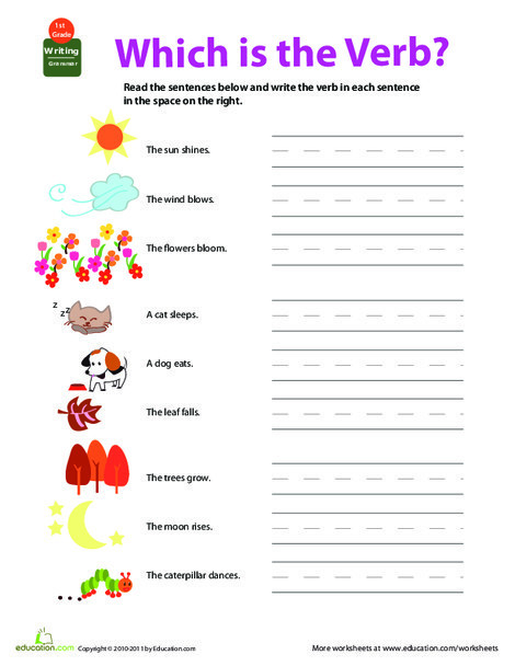 First Grade Reading & Writing Worksheets: Get into Grammar: Which Is the Verb?