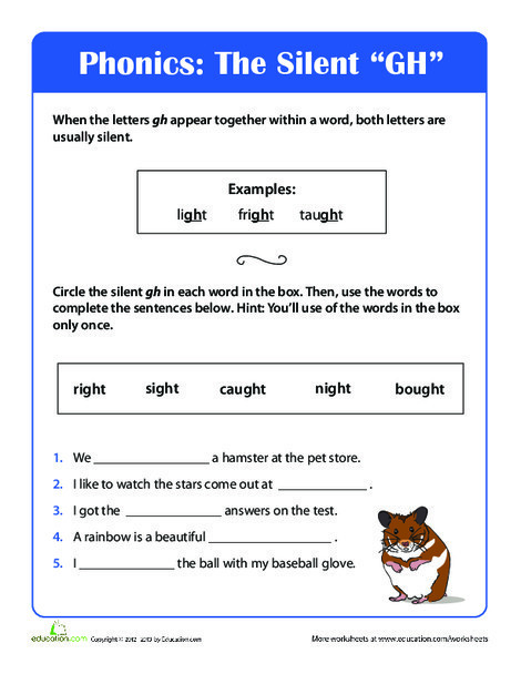 Second Grade Reading & Writing Worksheets: Phonics Fun: Silent Gh