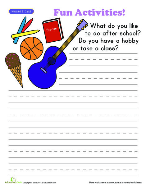 First Grade Reading & Writing Worksheets: Write About Yourself: Fun Activities!