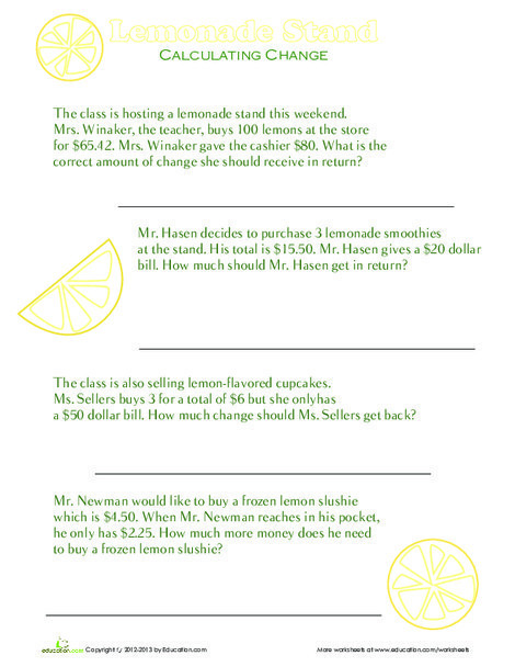 Second Grade Math Worksheets: Coin Challenge: Money Word Problems
