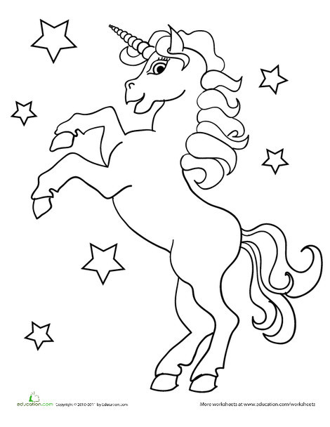 Preschool Coloring Worksheets: Unicorn Coloring Page