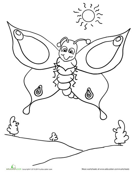 Preschool Coloring Worksheets: Color the Butterfly