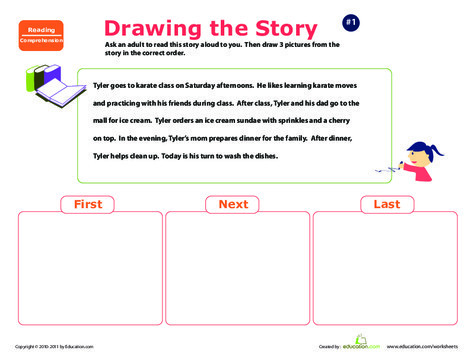 Preschool Reading & Writing Worksheets: Story Sequencing: Tyler's Day