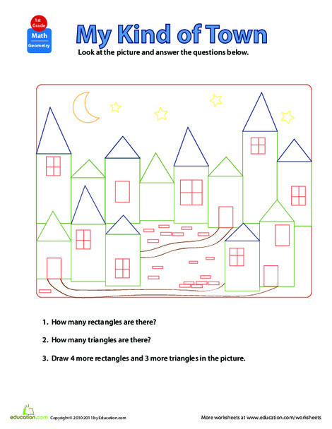 First Grade Math Worksheets: Shapes in Pictures: My Kind of Town