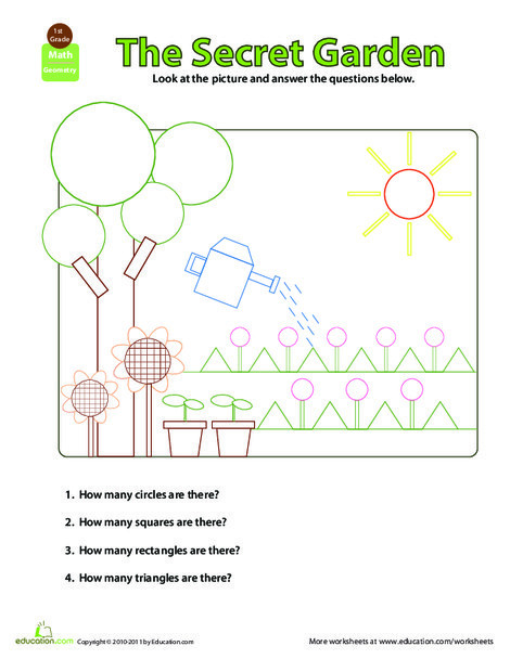 First Grade Math Worksheets: Shapes in Pictures: Secret Garden
