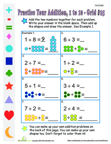 First Grade Math Worksheets: Count the Dots: Single-Digit Addition 25