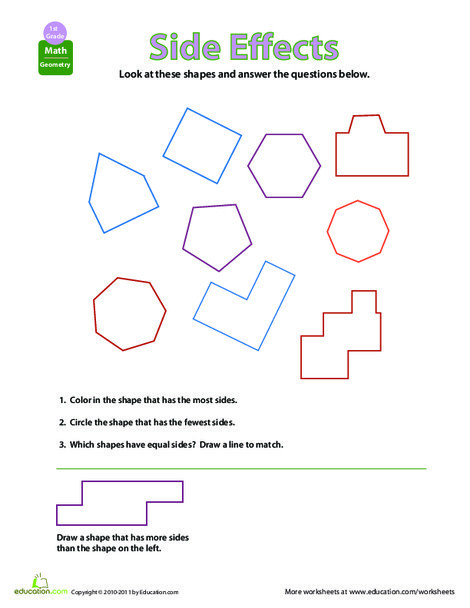 First Grade Math Worksheets: Shapes and Sides