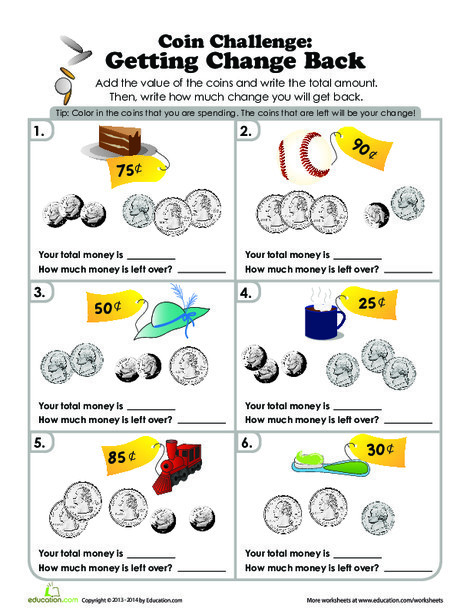 Second Grade Math Worksheets: Coin Challenge: What's the Change?