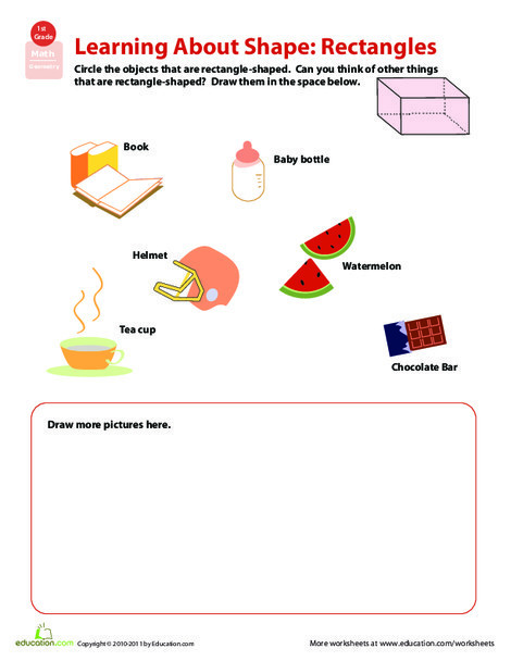 First Grade Math Worksheets: Seeing Shapes: Rectangular Prisms