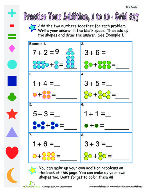 First Grade Math Worksheets: Count the Dots: Single-Digit Addition 27