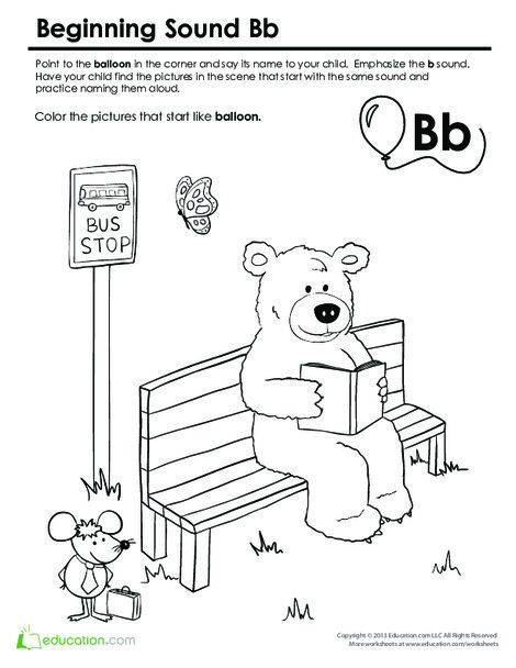 Preschool Reading & Writing Worksheets: Beginning Sounds Coloring: Sounds Like Bear