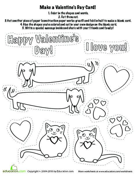 Kindergarten Reading & Writing Worksheets: Make a Valentine