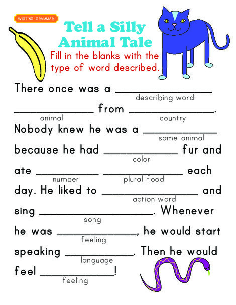 First Grade Reading & Writing Worksheets: Fill-in a Funny Story #5