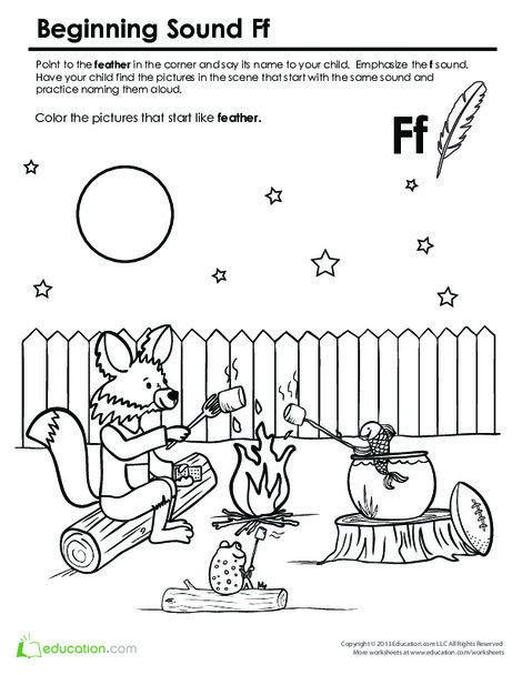 Preschool Reading & Writing Worksheets: Beginning Sounds Coloring: Sounds Like Fox