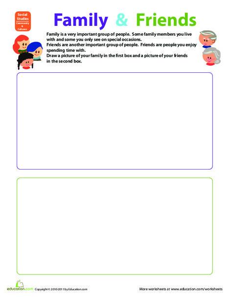 Preschool Social studies Worksheets: Family and Friends