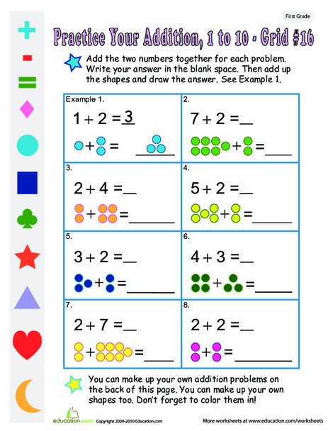First Grade Math Worksheets: Count the Dots: Single-Digit Addition 16