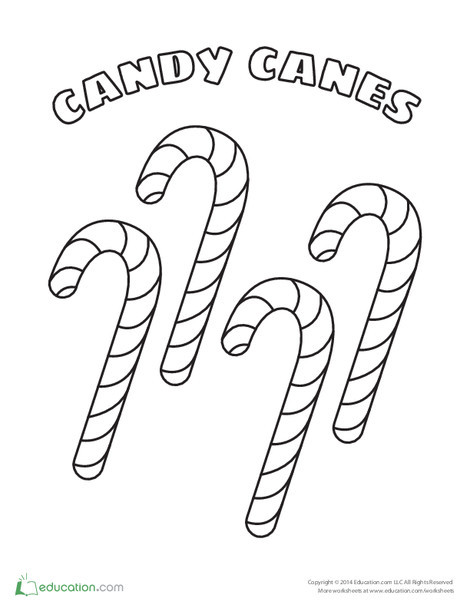 Preschool Holidays Worksheets: Candy Cane Coloring & Counting