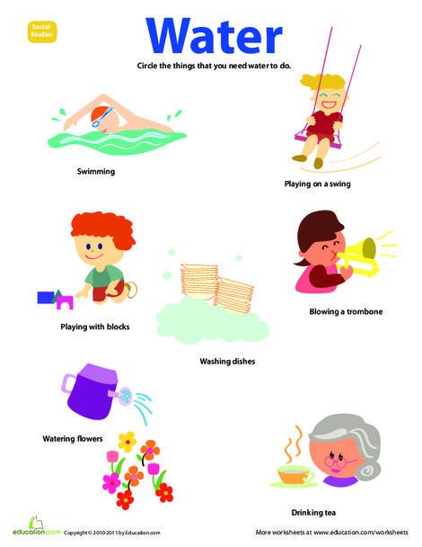 Preschool Science Worksheets: Resource: Water