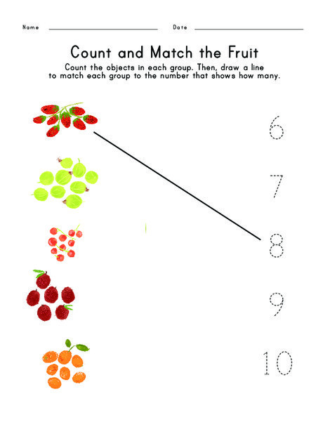 Kindergarten Math Worksheets: Count and Match the Fruit