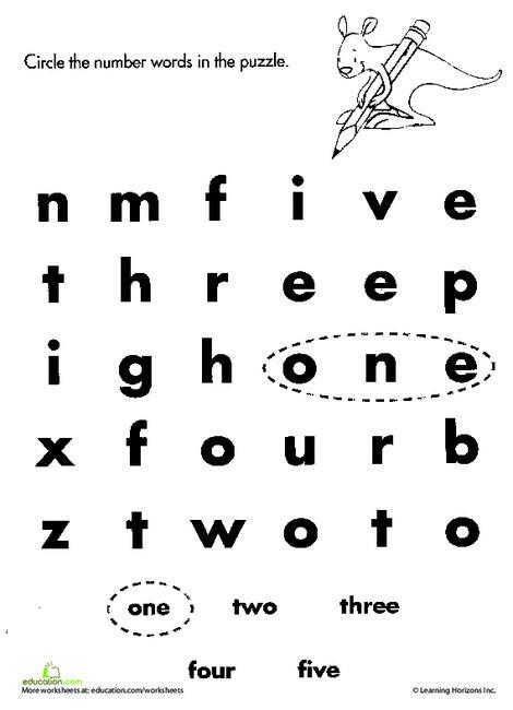 Kindergarten Math Worksheets: Number Words: One to Five