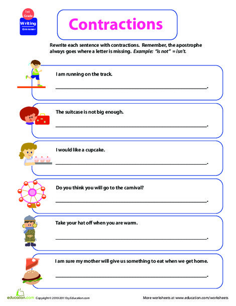 First Grade Reading & Writing Worksheets: Get into Grammar: Contractions