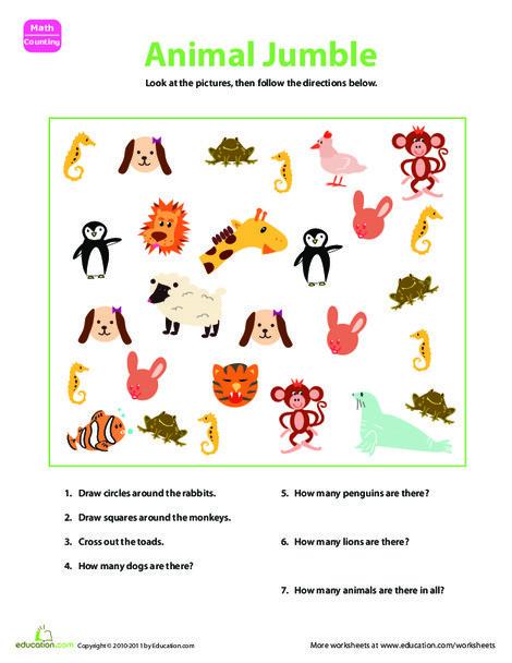 Kindergarten Math Worksheets: Sorting Animals