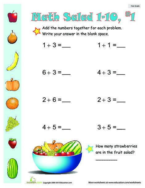 First Grade Math Worksheets: Addition Games: Math Salad 1