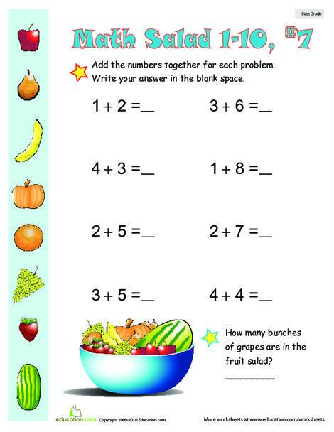 First Grade Math Worksheets: Math Salad 7