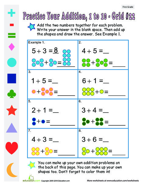 First Grade Math Worksheets: Count the Dots: Single-Digit Addition 22