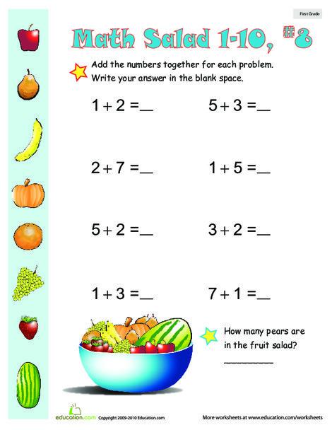 First Grade Math Worksheets: Math Salad 8