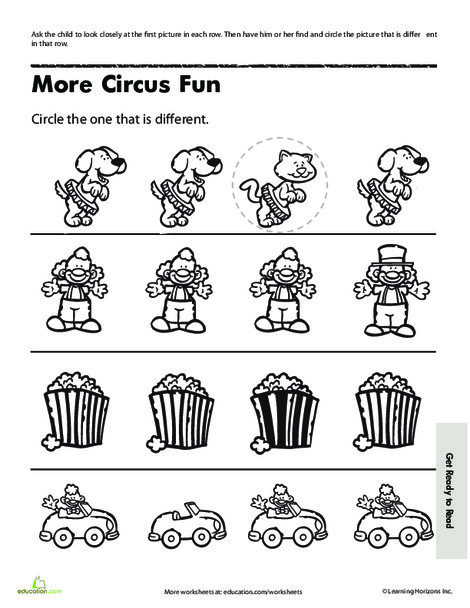 Preschool Math Worksheets: Find the Difference Picture Puzzles