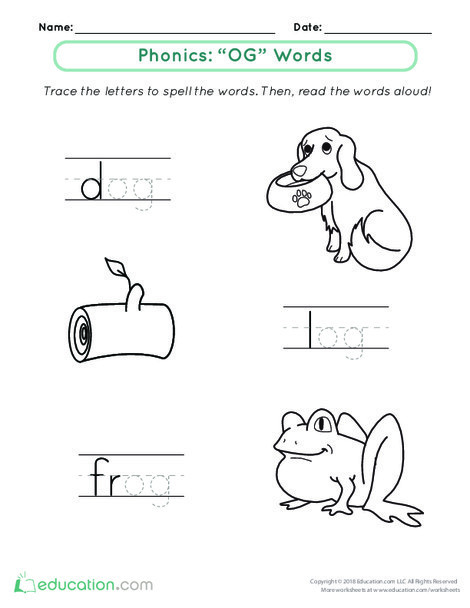 """Kindergarten Reading & Writing Worksheets: Welcome to Word Families: """"Og"""" Words"""