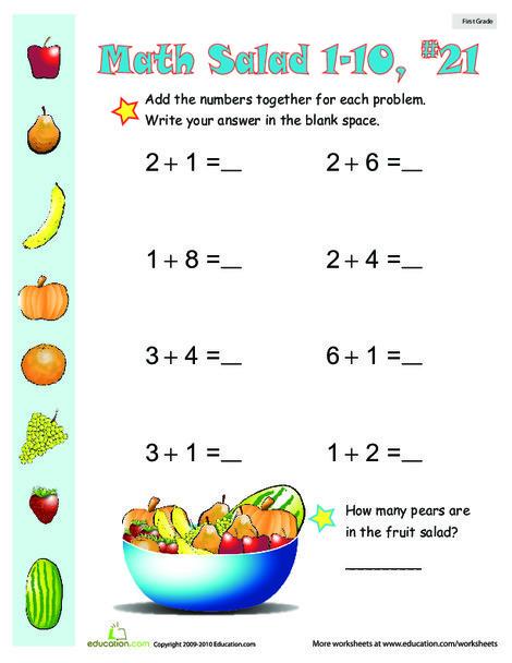 First Grade Math Worksheets: Math Salad 21
