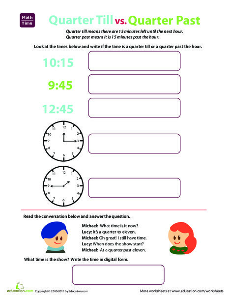 Second Grade Math Worksheets: Telling Time: Quarter Till and Quarter Past