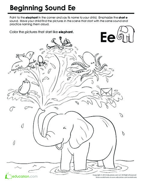 Preschool Reading & Writing Worksheets: Beginning Sounds Coloring: Sounds Like Elephant