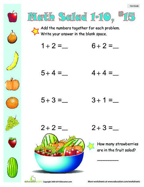 First Grade Math Worksheets: Math Salad 15